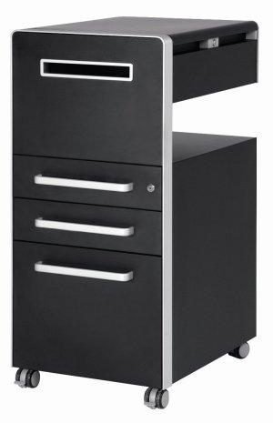 Rollcontainer metall schwarz  Besonders hochwertiger und günstiger Schreibtisch-Rollcontainer ...