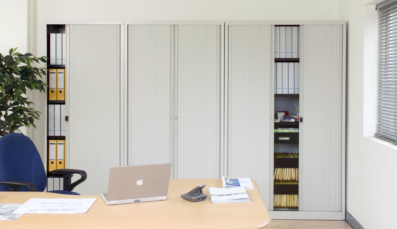 raumsparende Büro-Rollladenschränke abschließbare Rollläden seitlich ...