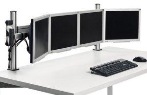 h henverstellbare monitorhalterung f r 4 flachbildschirme zur schreibtischmontage. Black Bedroom Furniture Sets. Home Design Ideas