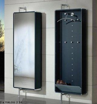 elegante und drehbare wandgarderobe mit schuhf cher frontseite mit spiegel oder satinato glas. Black Bedroom Furniture Sets. Home Design Ideas