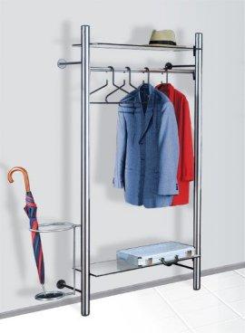 individuell erweiterbare edelstahl wandgarderobe und zeitschriftenregal zur wandmontage. Black Bedroom Furniture Sets. Home Design Ideas