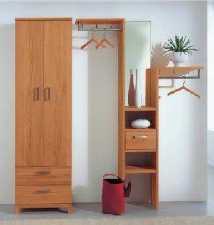 Robuste winkelgarderobe mit spiegel aus hochwertigem buche for Garderobe massivholz