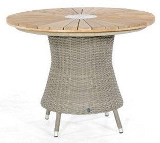 Hochwertiger Flechtwerk Gartentisch Mit Runder Old Teak Tischplatte