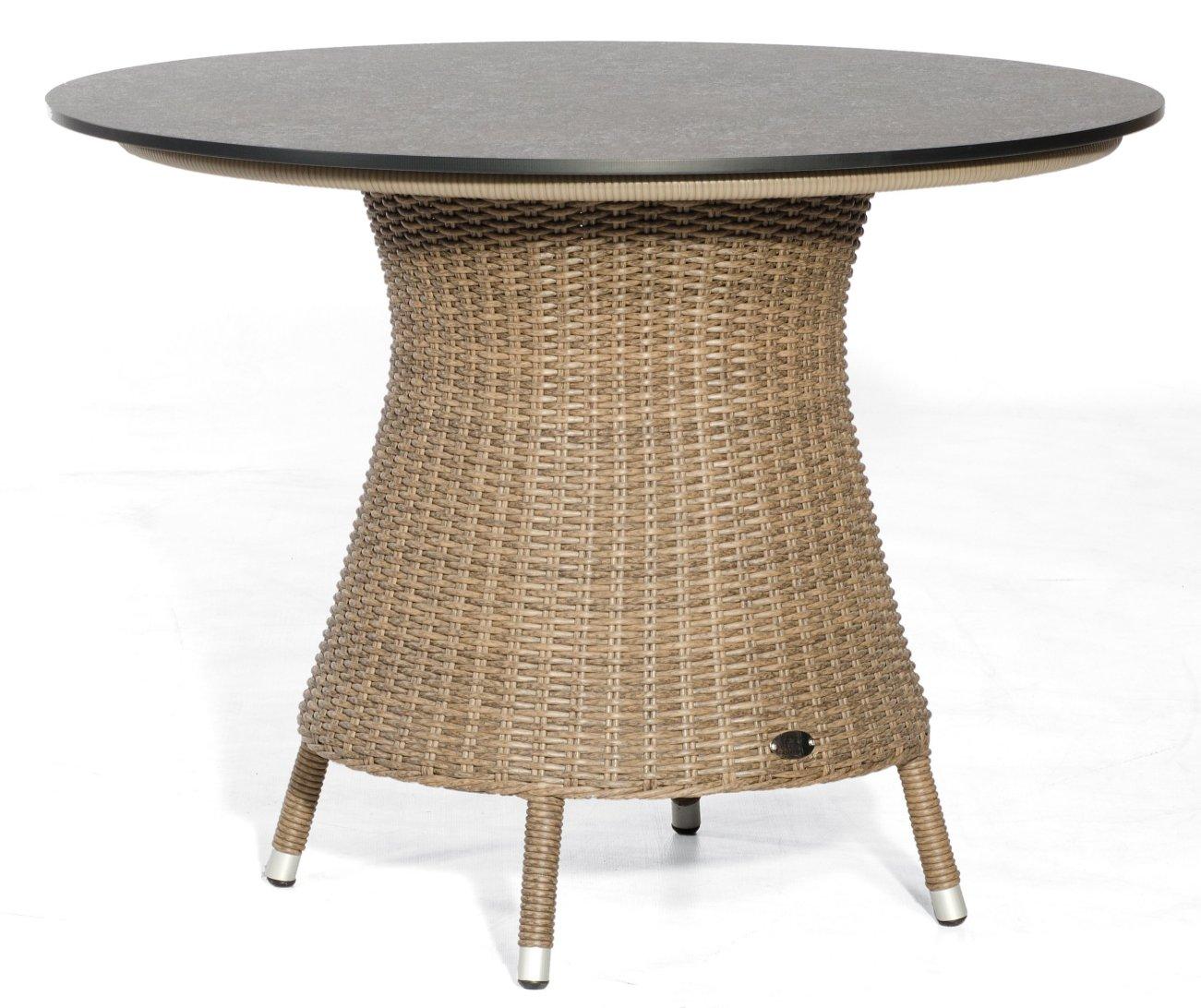 Gartentisch Runde Hpl Tischplatte Durchmesser 100 Cm Beflochtetem