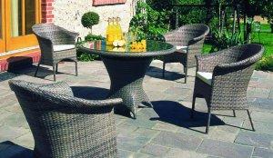 elegante geflecht-gartenbank und bequemer geflecht-gartensessel in, Garten ideen