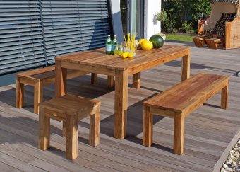 teak gartentisch teak holzbank aus recyceltem old teak in deutschland hergestellt. Black Bedroom Furniture Sets. Home Design Ideas