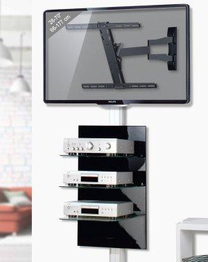 stabile fernseher wandhalterung mit einem um 180 grad drehbaren schwenkarm f r. Black Bedroom Furniture Sets. Home Design Ideas