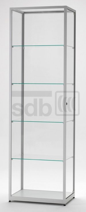 abschlie bare glasvitrine rundum aus esg hartglas und stabilen aluminiumprofil stufenlos. Black Bedroom Furniture Sets. Home Design Ideas