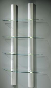 wandregal mit halbrunden beleuchteten aluminiums ulen mit drei oder vier glasb den. Black Bedroom Furniture Sets. Home Design Ideas