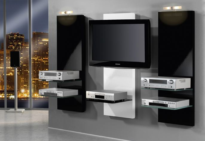 vemount wandregal tv rack wandhalterung dvd design halterung glasregal glas regal hif wandboard. Black Bedroom Furniture Sets. Home Design Ideas