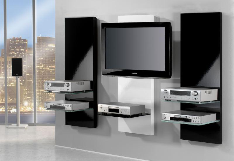 tv wandregal mit flatscreenhalterung und fachboden in. Black Bedroom Furniture Sets. Home Design Ideas