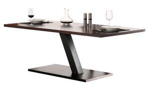 moderner einbein esstisch mit einem stabilen stahl tischbein und hochwertiger holztischplatte. Black Bedroom Furniture Sets. Home Design Ideas
