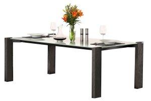 filigraner esstisch mit extra d nner tischplatte aus hochwertigem glas tischbeine naturholz. Black Bedroom Furniture Sets. Home Design Ideas