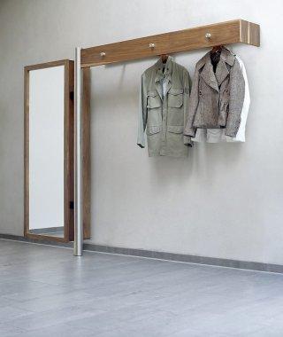 Wandgarderobe aus hochwertigem Edelstahl und Holz massiv mit ...
